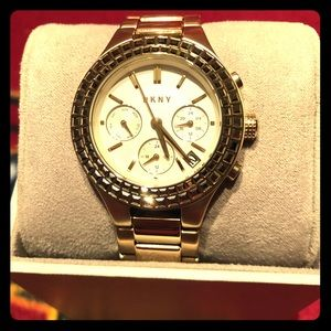 DKNY Gold Tone Watch With Swarovski Crystals